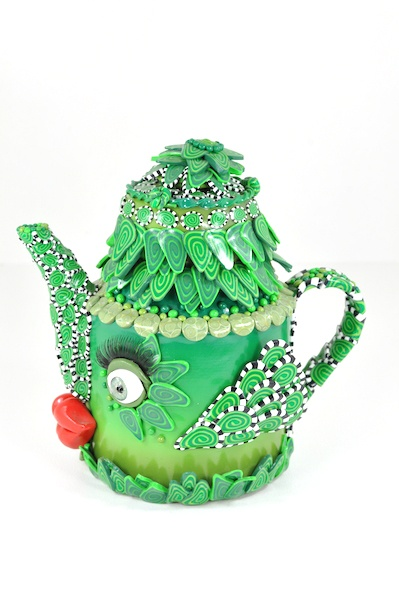 'SYBIL' – Polymer Clay (on Teapot armature) – SOLD