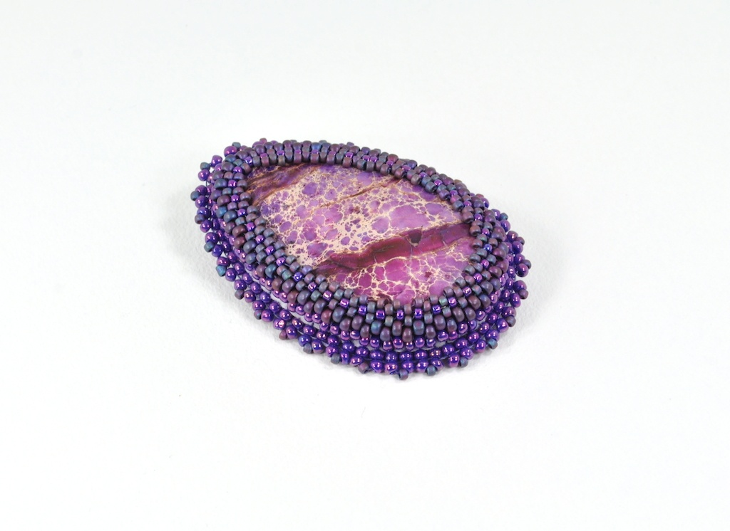 'SPECKLED' – Gemstone Cabochon, Glass Beads, Brooch/Pendant converter pin – SOLD